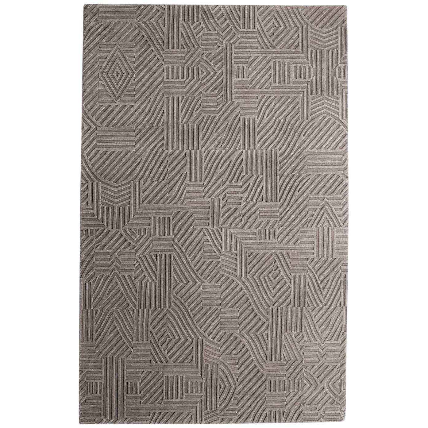 African Pattern One Area Rug in Hand-Tufted Wool by Milton Glaser Large