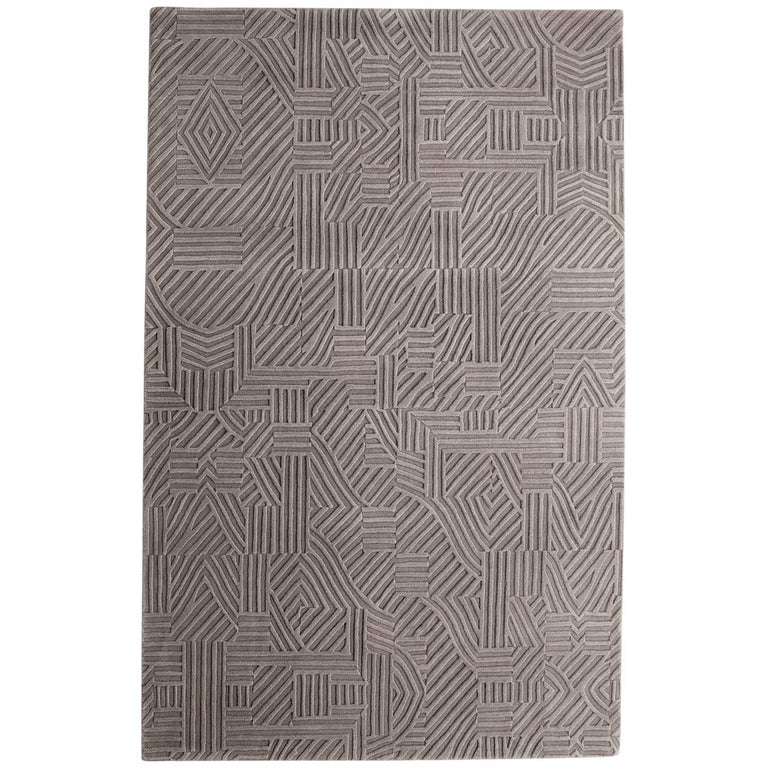 African Pattern One Area Rug in Hand-Tufted Wool by Milton Glaser Large For Sale