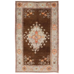 Vintage Turkish Oushak Rug in Chocolate Brown, Gray, Taupe and Burnt Orange