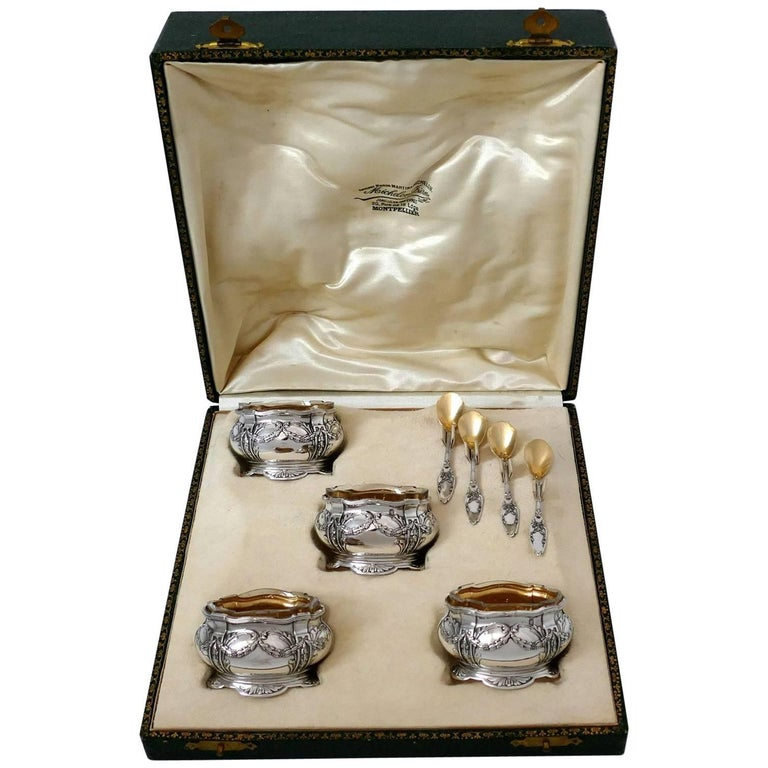 Collet French Sterling Silver 18-Karat Gold Four Salt Cellars, Spoons, Box