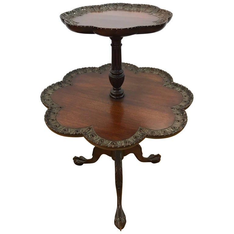 Antique Chippendale Mahogany Two Tiered Pie Crust Table For