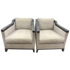 Pair of Michael Weiss Upholstered Leather Crocodile Nailhead Club Chairs