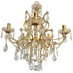 Louis XVI Gilt Gold Crystal Six-Light Chandelier