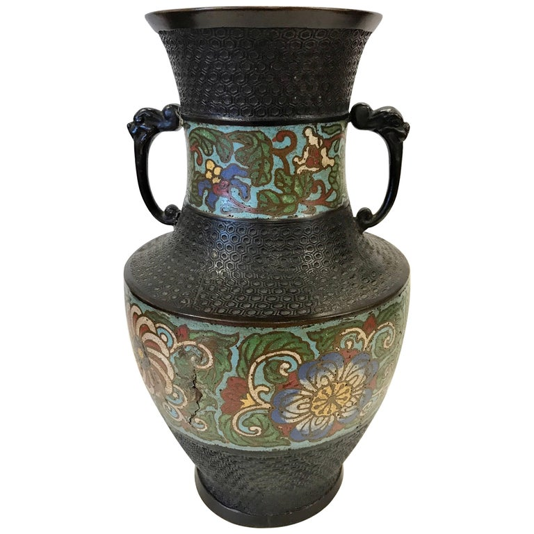 Turn Of 20th Century Japanese Champlev Bronze Enamel Vase Urn For