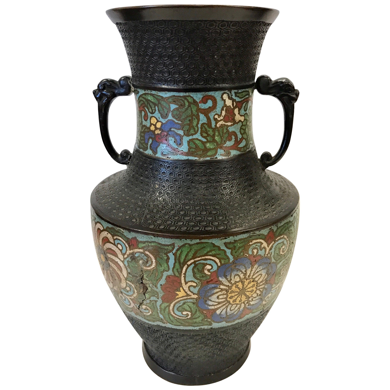 Turn of 20th Century Japanese Champlevé Bronze Enamel Vase Urn