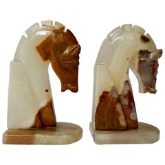 Italian Onyx Horse Art Deco Head Bookends