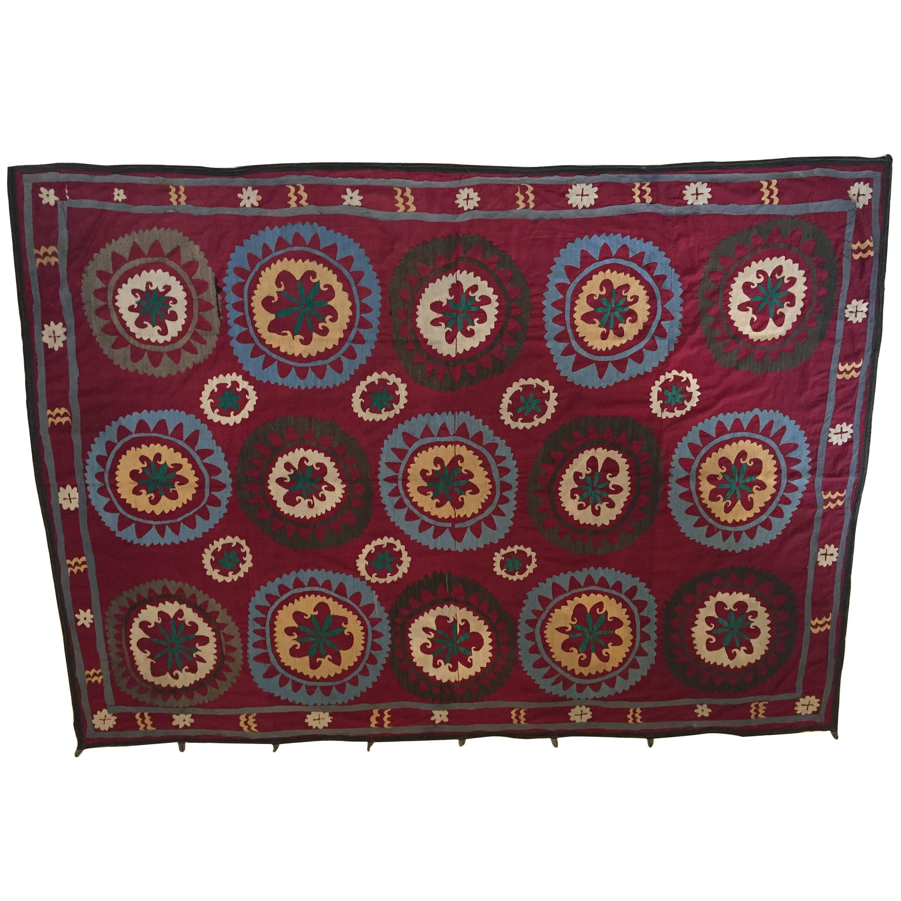 Large Vintage Uzbek Suzani Needlework Textile Blanket or Tapestry