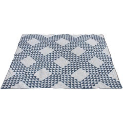 Vintage Quilt Blue and White Ocean Waves