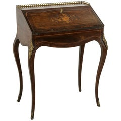 19th Century French Napoleon III Period Lady's Desk with Inlay and Bronze Ormolu