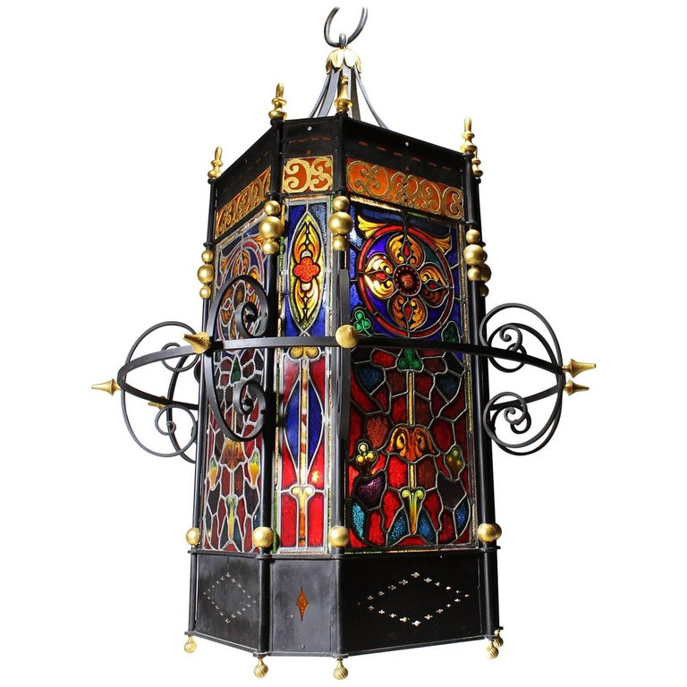 Palatial Italian 19th Century Baroque Style Stained Glass Grand Hall Lantern