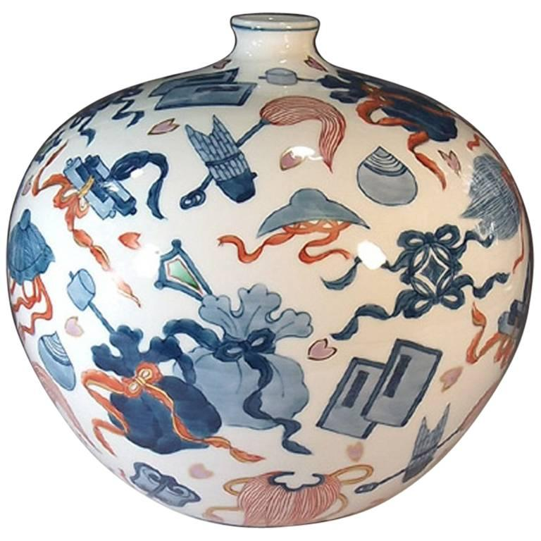 Japanese Ovoid Contemporary Hand-Painted Porcelain Vase by Master Artist