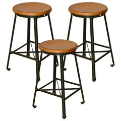 Great Set of Three Vintage Industrial Steel and Turned Wood Counter Stools