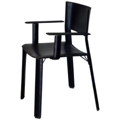 Chic Stitched Black Leather Desk Armchair in the Style of Matteo Grassi