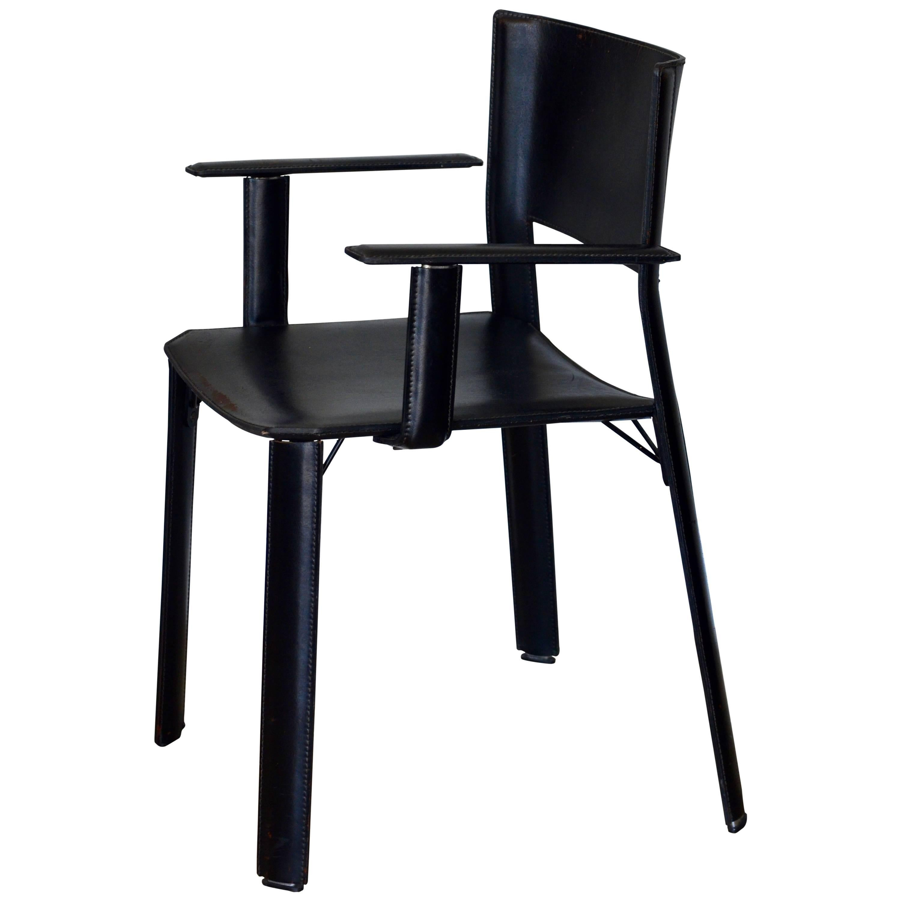 Chic Stitched Black Leather Desk Armchair In The Style Of Matteo Grassi For  Sale