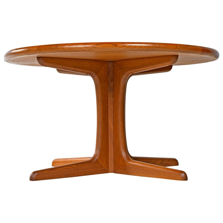 Vintage 1970s solid teak round coffee table stamped with the