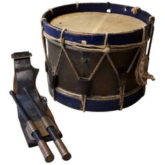 Early 20th Century French Drum with Sticks and Belt