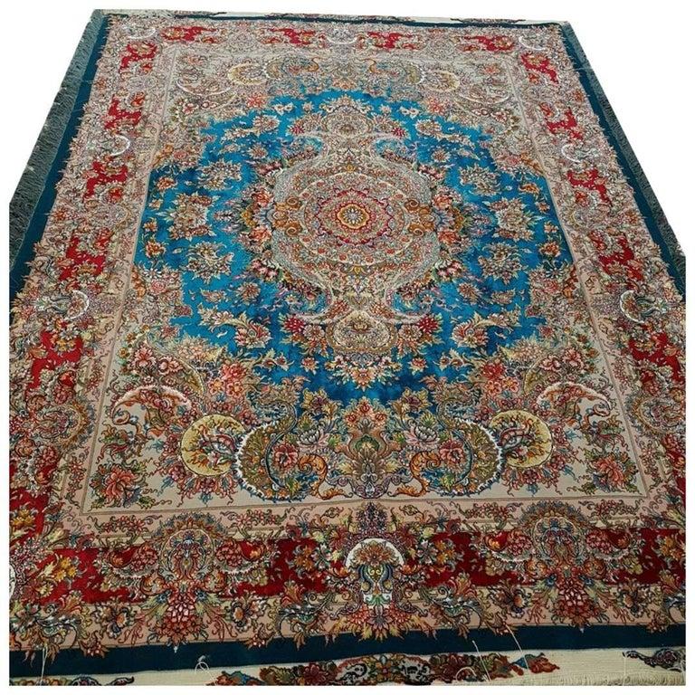 Khatibi Turquoise Designer Hand-Knotted Genuine Persian Tabriz Rug