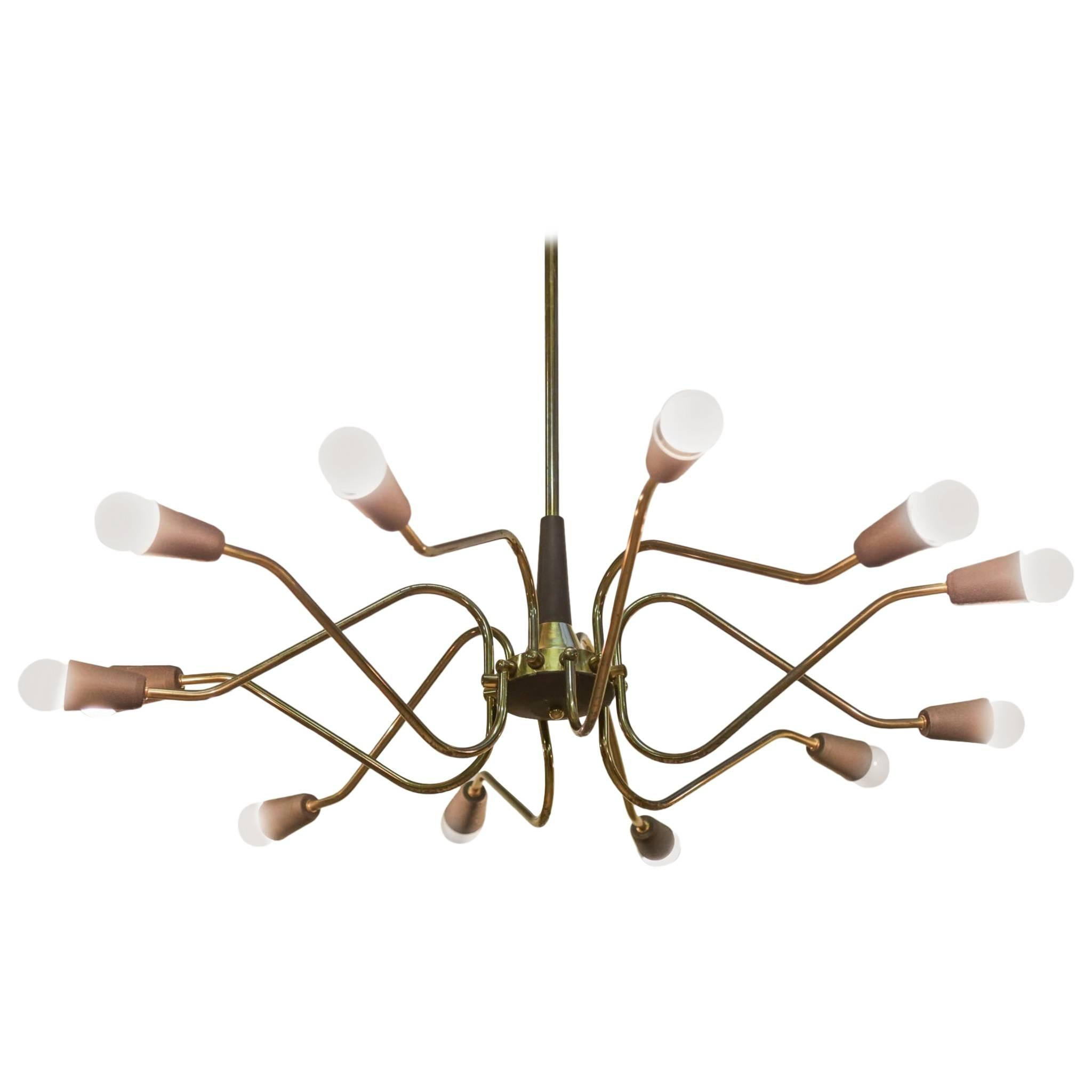 Italian Chandelier in the Style of Stilnovo, 1960s