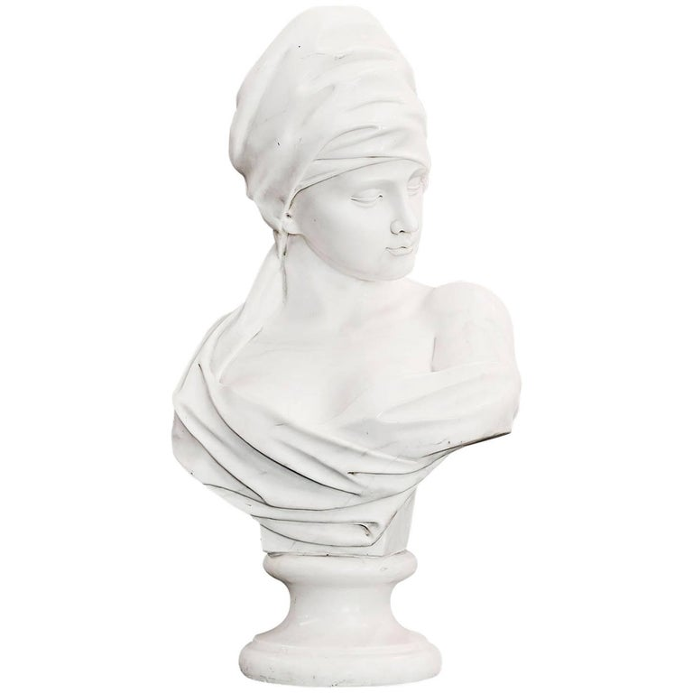 French Absolute Marble Bust of Woman, circa 1860s