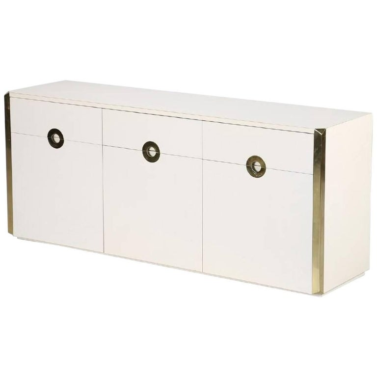 Cream Lacquered Sideboard by Willy Rizzo For Sale