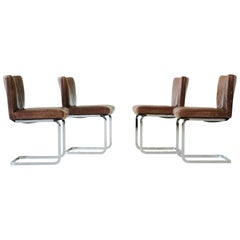 Set of Four Bauhaus Style Dining Room Chairs by Robert Haussmann for De Sede