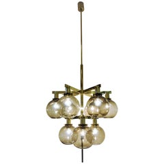 Glass/Brass Chandelier Pastoral T348/9 with Smokey Domes by Hans-Agne Jakobsson