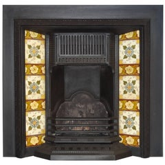 19th Century Victorian Cast Iron Fireplace Insert Grate with Antique Tiles