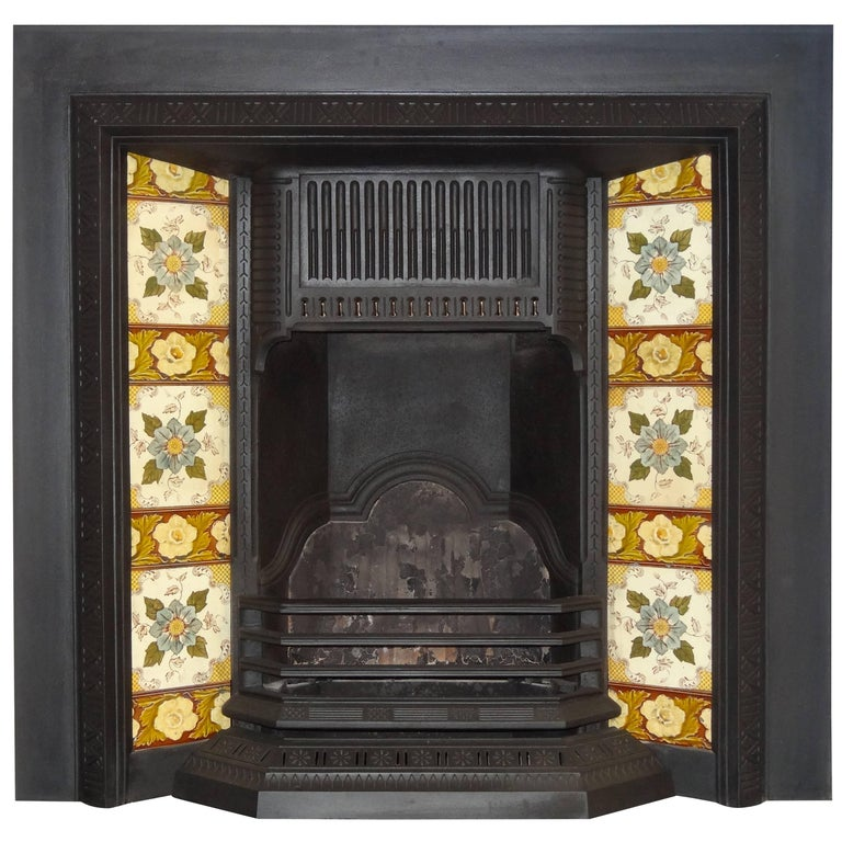 19th Century Victorian Cast Iron Fireplace Insert Grate With Antique Tiles At 1stdibs