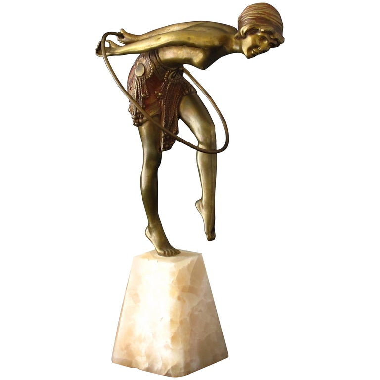 Art Deco Bronze Figure of a Hoop Dancer by Demetre Chiparus For Sale
