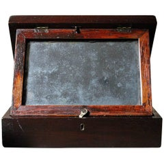 19th Century English Oak Campaign Type Gentleman's Travelling Shaving Box