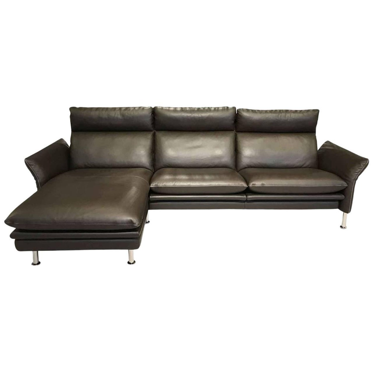 Sofa Porto By Manufacuterer Erpo In Genuine Leather And Chrome  ~ Pure Leather Sofa Price