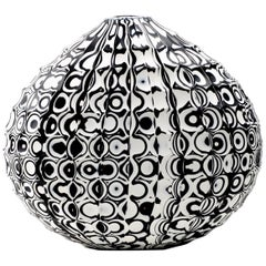 Mokume Battuto Low Flat Oval Vase by Siemon & Salazar