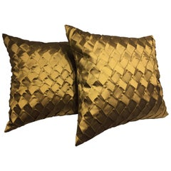 Pleated Silk Cushions Pleat Opal Pattern Color Ginger