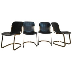 Set of Brass and Black Leather Willy Rizzo Dining Chairs