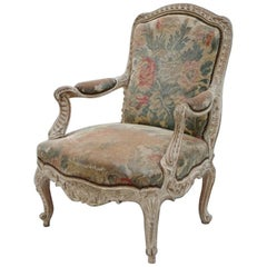Louis XV Style Cream Lacquer Armchair with Tapestry, 1930