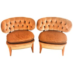 Pair of  Easy Chairs from the 1940`s in Beige Velvet by Otto Schulz, Boet-Sweden