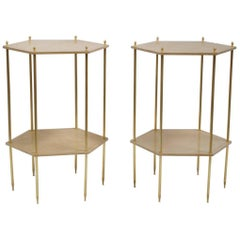 Pair of Louis XVI Style Hexagonal Side Tables with Cream Lacquer Top