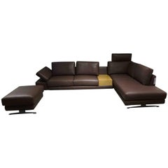 """Sofa """"Otis"""" with Stool by Manufacturer WK Wohnen in Nappaleather, Wood and Metal"""