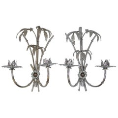 Pair of Chromed Metal Palm Tree Sconces, circa 1970
