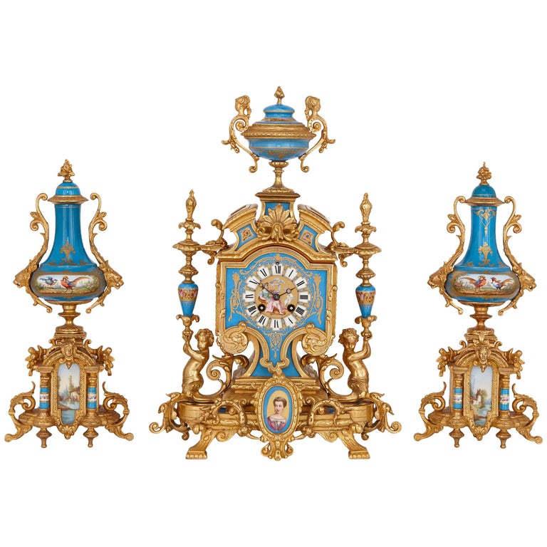 French 19th Century Gilt Metal and Sevres Style Porcelain Clock Garniture