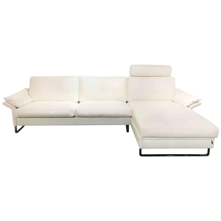 """Sofa """"Classics CL 960"""" by Manufacturer Erpo in White Genuine Leather"""