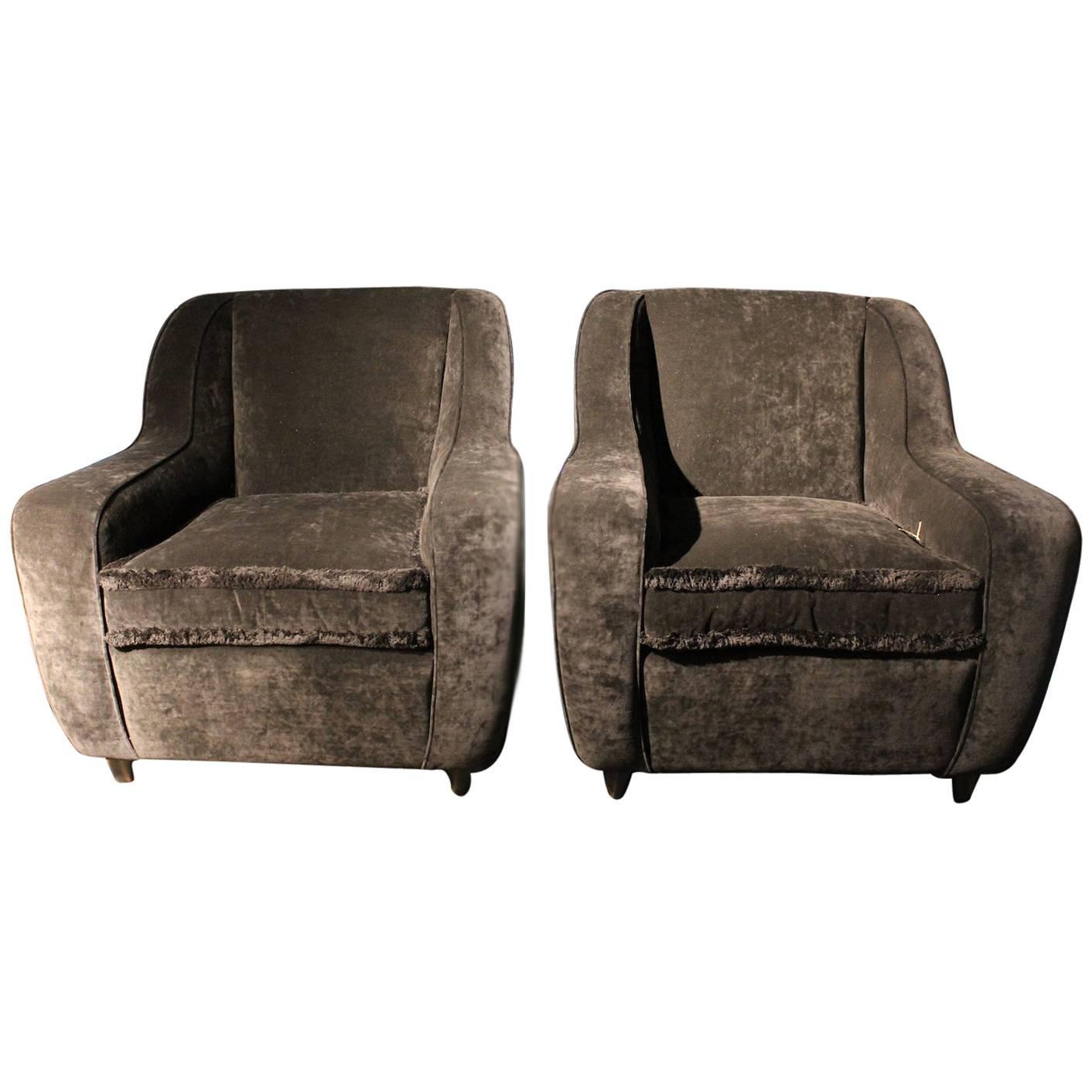 Pair of Beautiful 1960s Armchairs in Black Cotton Velvet
