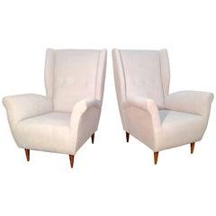 Pair of Italian I.S.A. Bergamo Lounge Chairs, att. Gio Ponti.