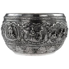 Antique Exceptional Burmese Solid Silver Thabeik Bowl, Rangoon, circa 1880
