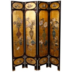20th Century French Lacquered and Gilt Screen