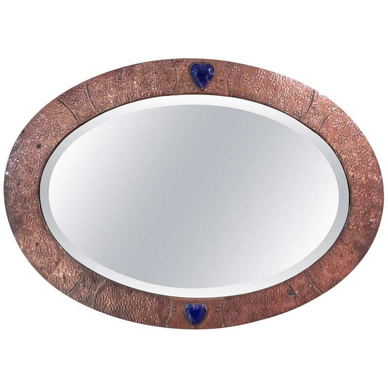 Arts and Crafts Movement Oval Copper-Framed Mirror