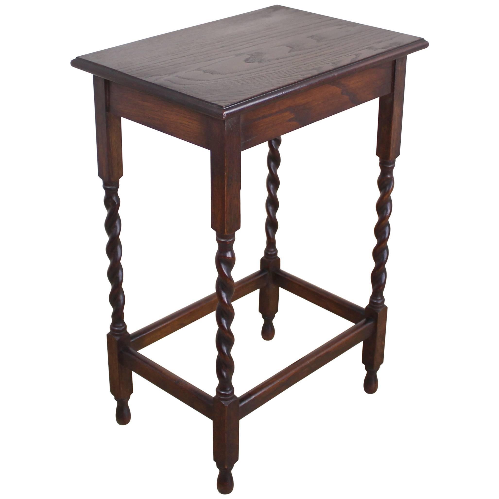 Antique Oak Barley Twist Side Table For Sale