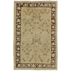 Vining Floral Design All-Over Turkish Oushak Vintage Rug in Tan, Cream, Brown