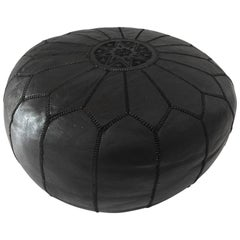 Moroccan Vintage Handcrafted Black Leather Ottoman with Embroideries