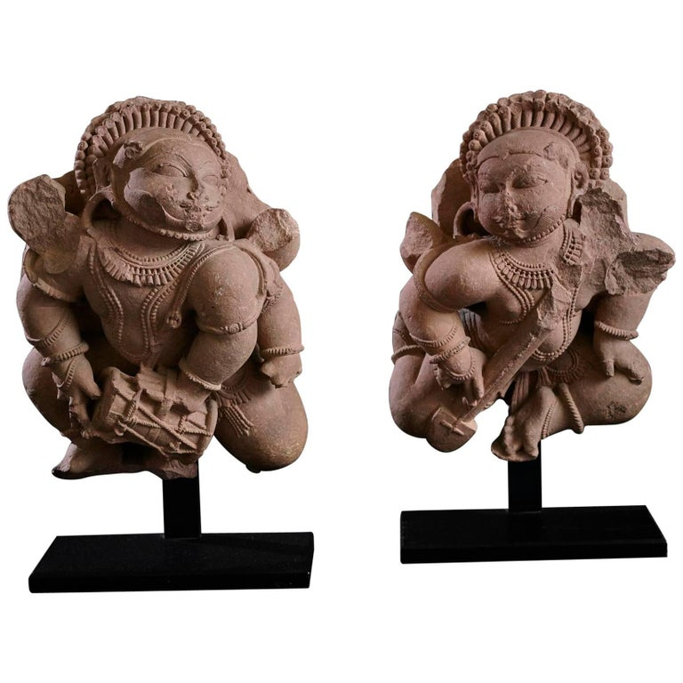 Pair of 12th Century Rajasthan Red Sandstone Figures
